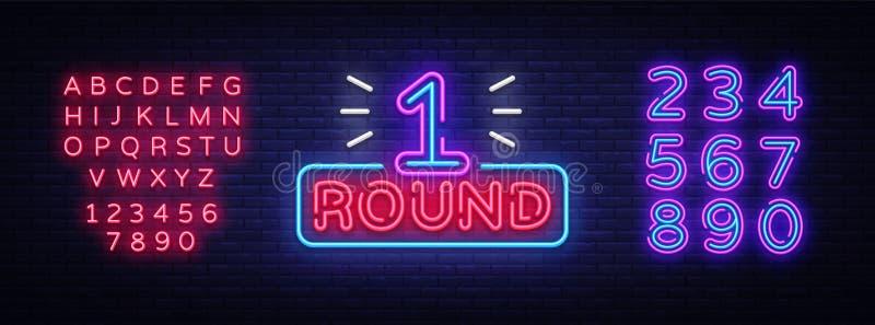 Pierwszy Round jest neonowego znaka wektorem Bokserski Round 1 atak, neonowego symbolu projekta elementu Ilustracyjny neonowy jas ilustracja wektor