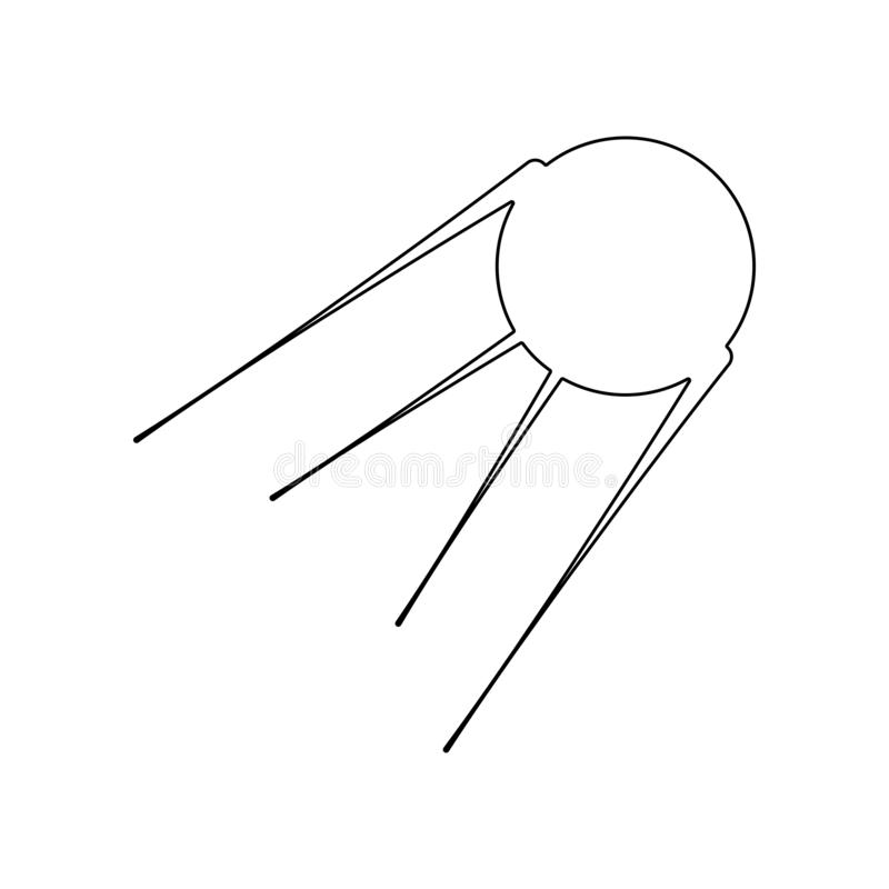 pierwszy satelitarna ikona Element Rosja dla mobilnego poj?cia i sieci apps ikony Kontur, cienka kreskowa ikona dla strona intern royalty ilustracja