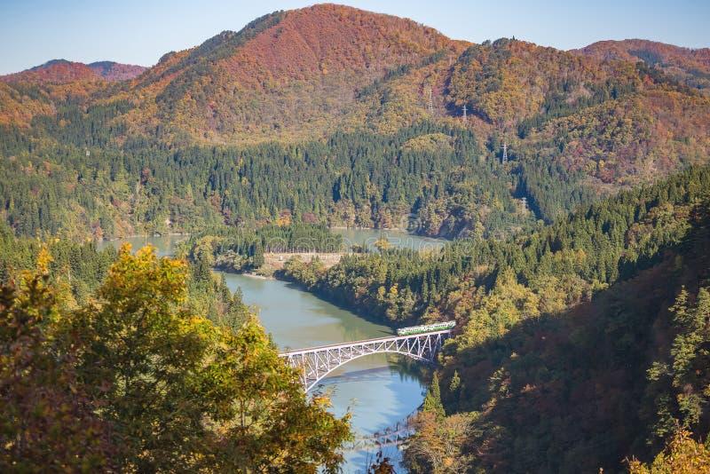 Pierwszy tadami rzeki most w Fukushima, Japonia obraz royalty free