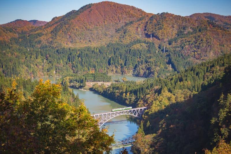 Pierwszy tadami rzeki most w Fukushima, Japonia fotografia stock