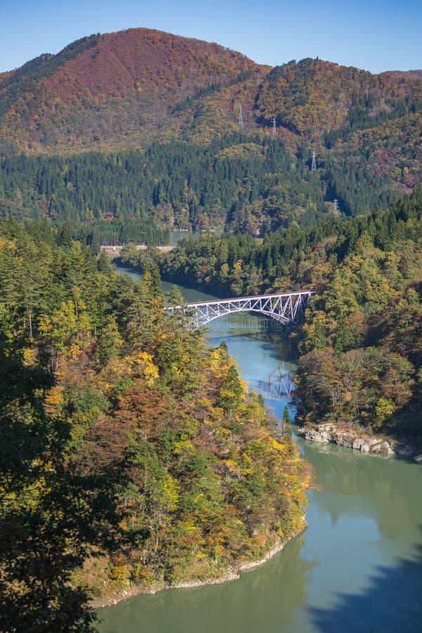 Pierwszy tadami rzeki most w Fukushima, Japonia zdjęcie royalty free