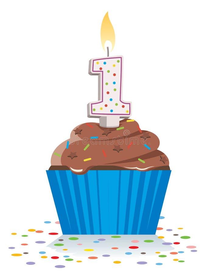 Pierwszy urodzinowa babeczka z zaświecającą świeczką w kształcie liczba jeden royalty ilustracja