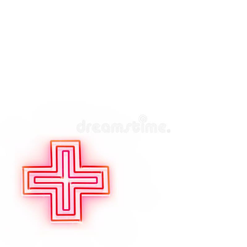 pierwszy znak neonowego pomoże ilustracja wektor