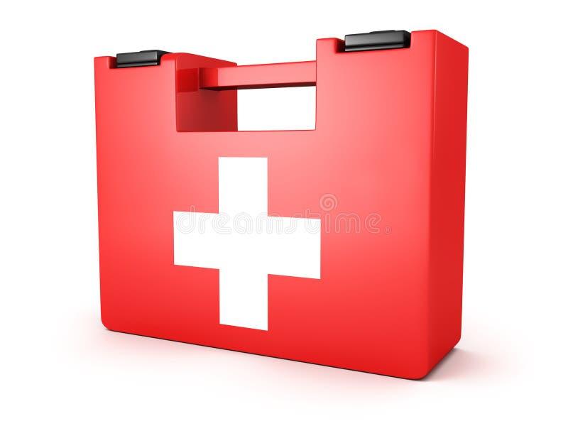 Pierwszych Pomocy Medyczny Zestawu Pudełko na biały tle ilustracji