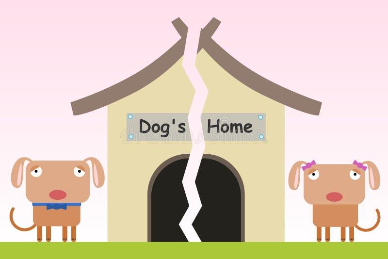 Pies łamający do domu royalty ilustracja