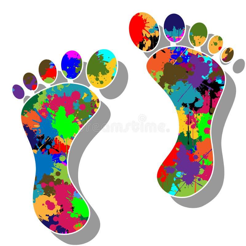 Pies coloridos stock de ilustración