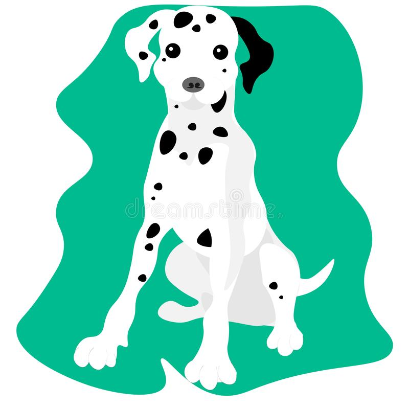 pies dalmatian Dalmatyński obsiadanie z jęzorem za royalty ilustracja