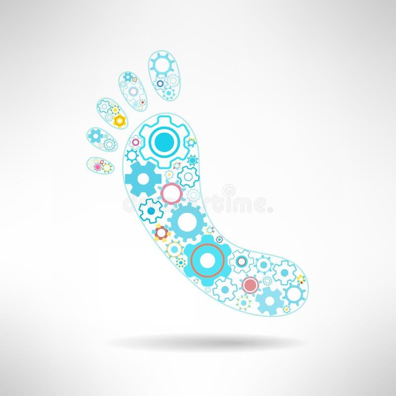 Pies de muestra y logotipo del masaje con los engranajes salud stock de ilustración