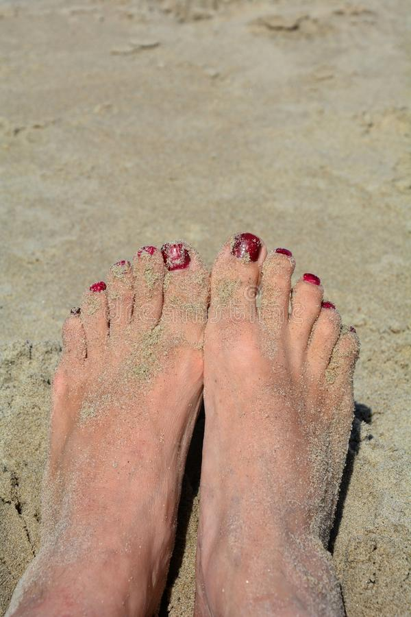 Pies de Sandy con las uñas del pie rojas en la playa foto de archivo libre de regalías