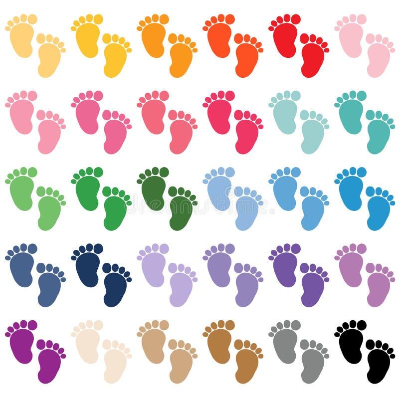 Pies del bebé, etiqueta engomada de la fiesta de bienvenida al bebé, muchacha, muchacho, libre illustration