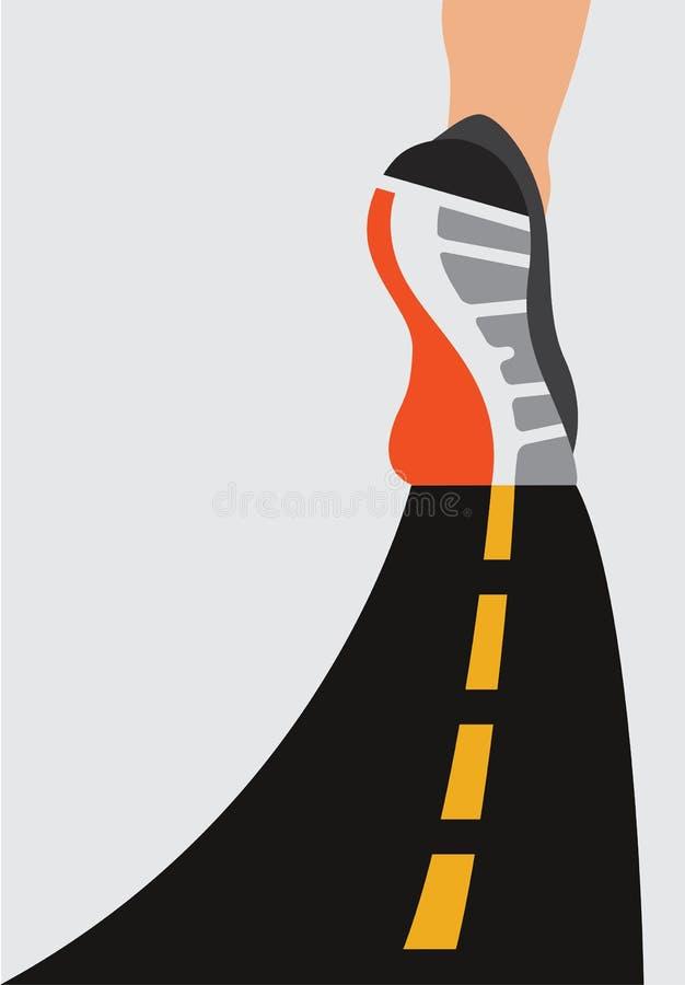 Pies del corredor del atleta que se ejecutan en el primer del camino en el zapato Concepto de la salud del entrenamiento de la sa libre illustration