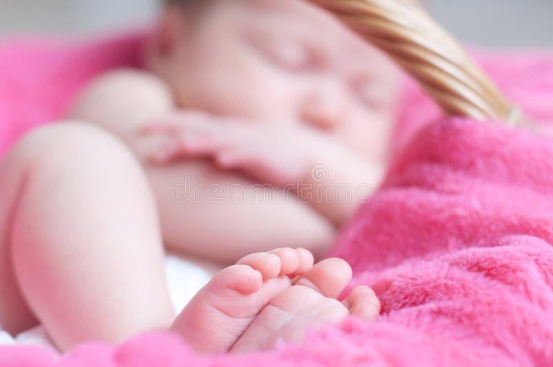 Pies del primer recién nacido el dormir Bebé infantil que miente en la manta rosada en cesta talones suaves imágenes de archivo libres de regalías