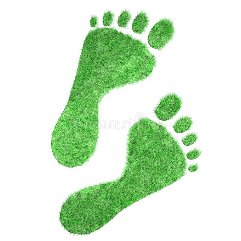 Pies desnudos de rastro de hierba verde stock de ilustración