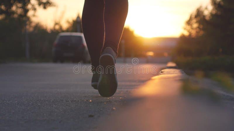 Pies femeninos de las piernas que corren en el parque durante puesta del sol hermosa Ejercicio de concepto fotografía de archivo