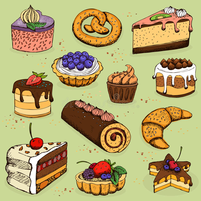 Pies and flour products for bakery, pastry royalty free illustration