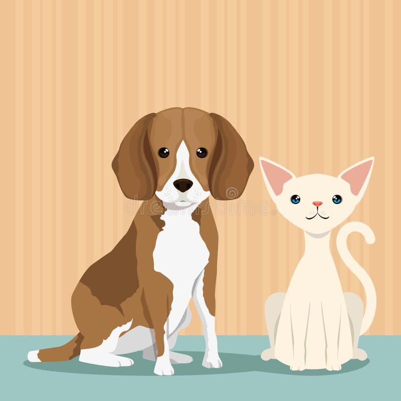 Pies i kot śliczne maskotki ilustracja wektor