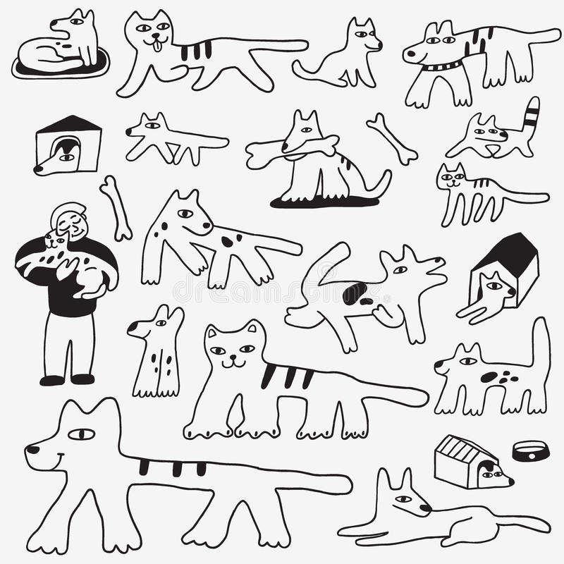 Pies i kot doodles ilustracja wektor