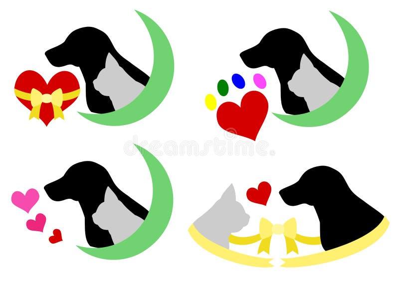 Pies i kot sylwetka z sercem royalty ilustracja