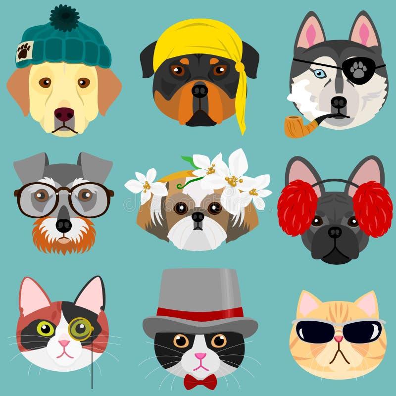 Pies i kot twarzy set w modniś modzie royalty ilustracja