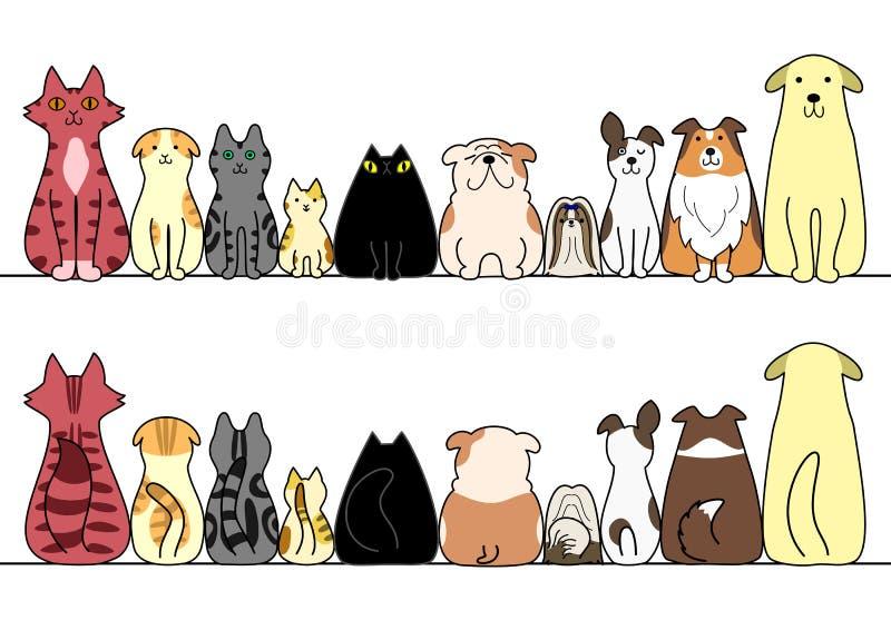 Pies i kot z przestrzenią, przodem i plecy z rzędu kopii, ilustracji