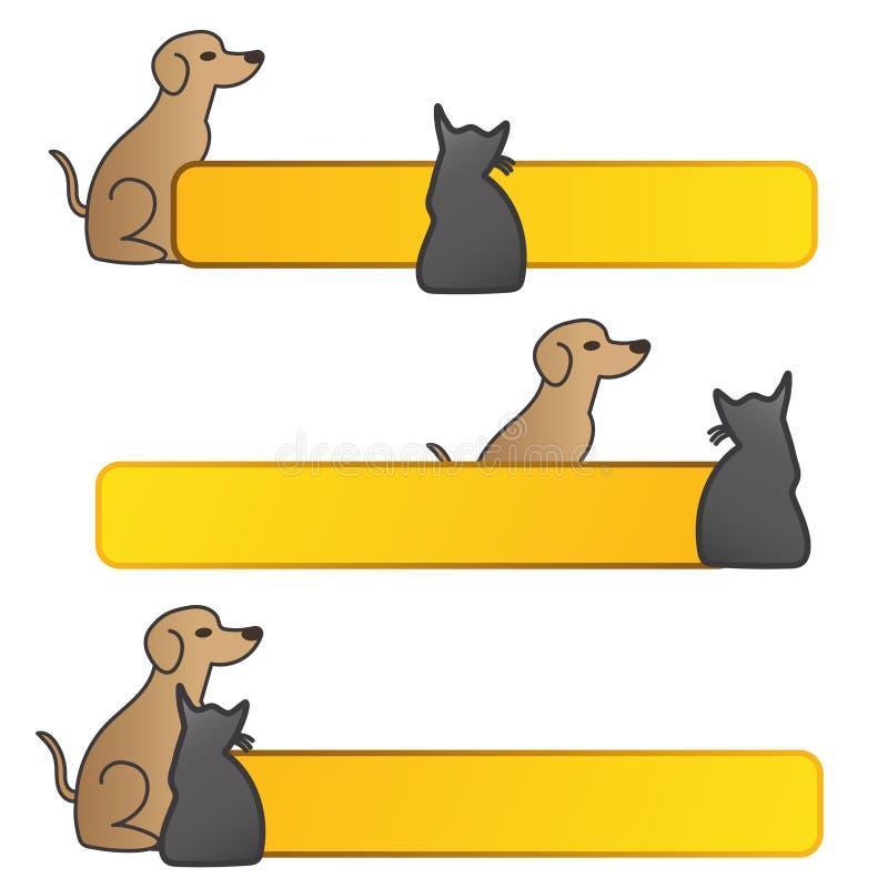 Pies i kot z sztandarem ilustracji