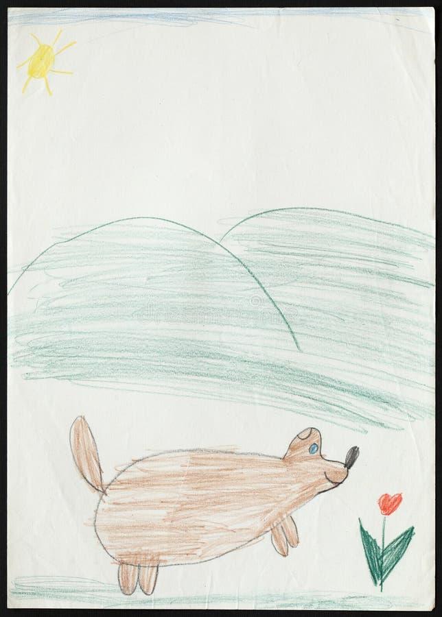 Pies i Tulipanowy kwiat Child& x27; s rysunek fotografia stock