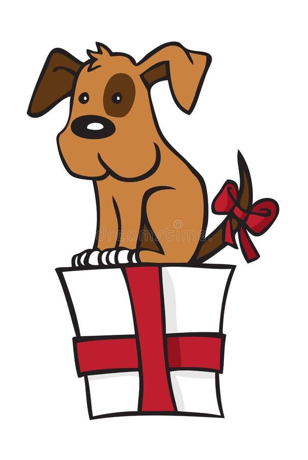 Pies jest na prezencie ilustracja wektor