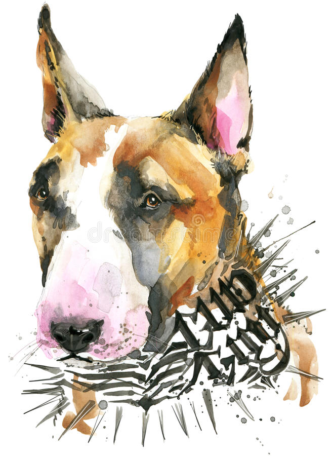 pies jest portret Psie koszulek grafika akwareli psia ilustracja Agresywny psi traken royalty ilustracja