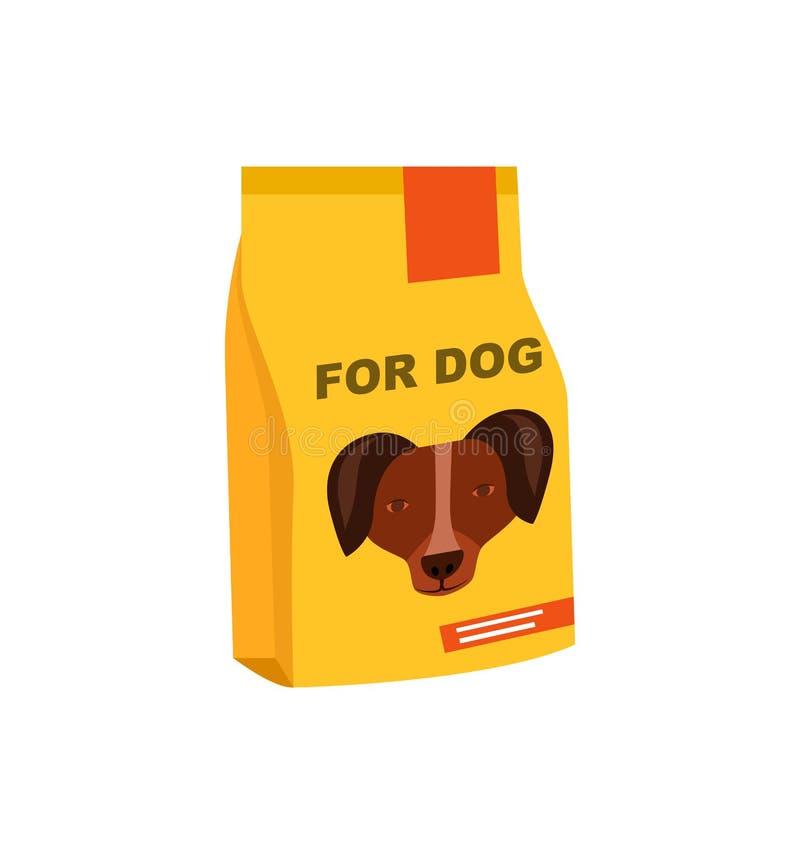 Pies konserwująca jedzenie paczki odosobniona ikona royalty ilustracja