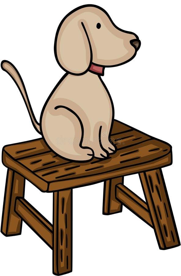 Pies na małej drewnianej ławce ilustracja wektor