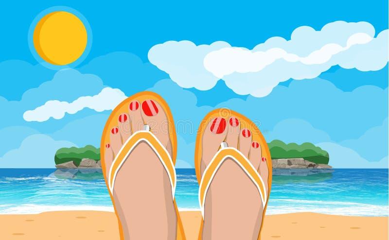 Pies para mujer en chancletas Paisaje de la playa stock de ilustración