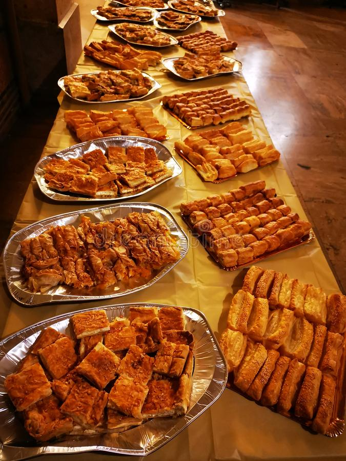 Pies and pastries with several kinds of cheese royalty free stock photo