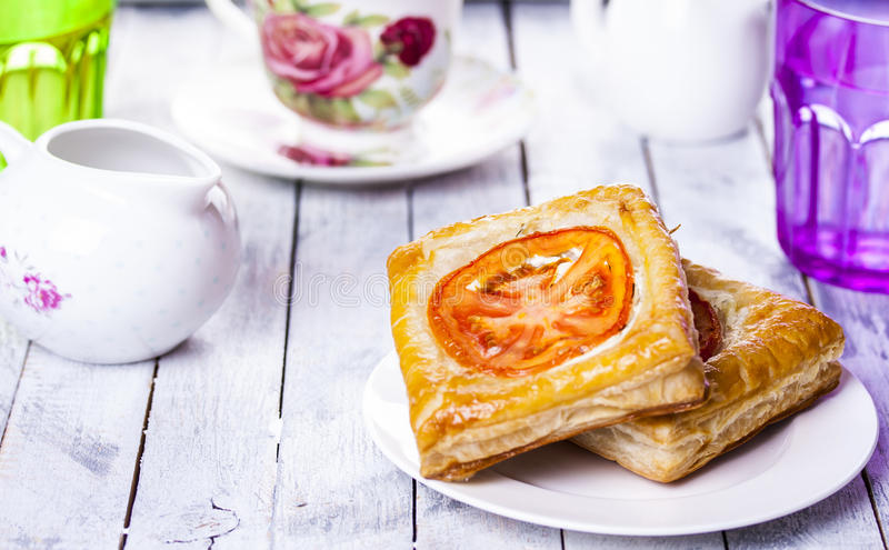 Pies of puff pastry royalty free stock images