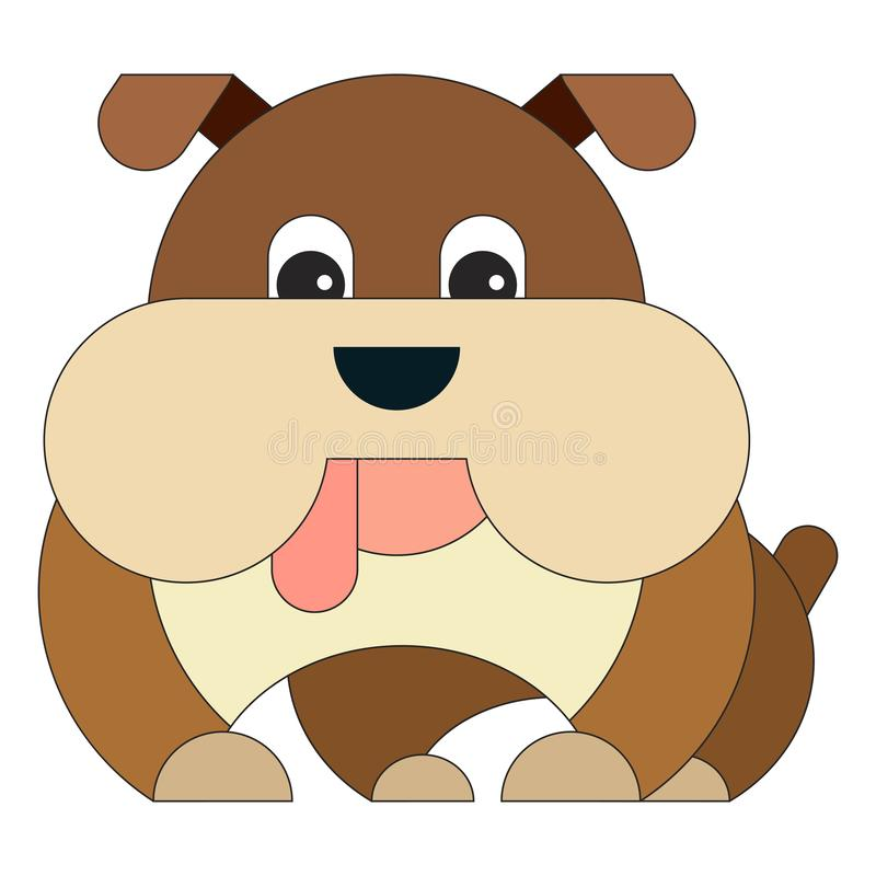 Pies w kreskówki mieszkania stylu royalty ilustracja