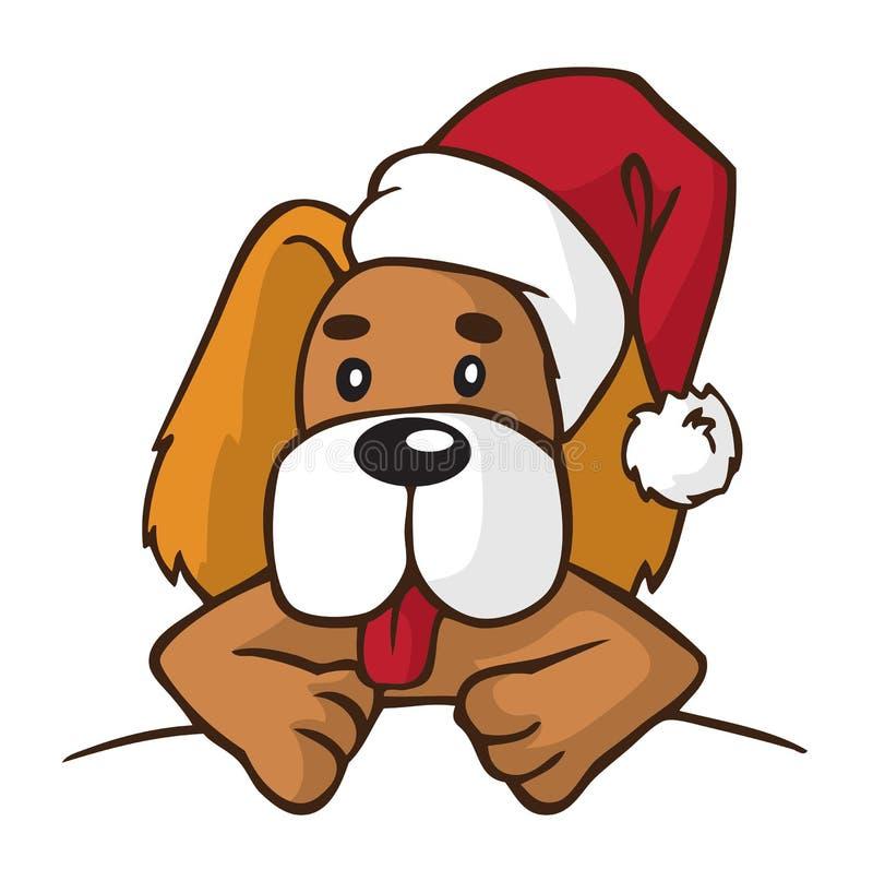 Pies w nowego roku kapeluszu royalty ilustracja