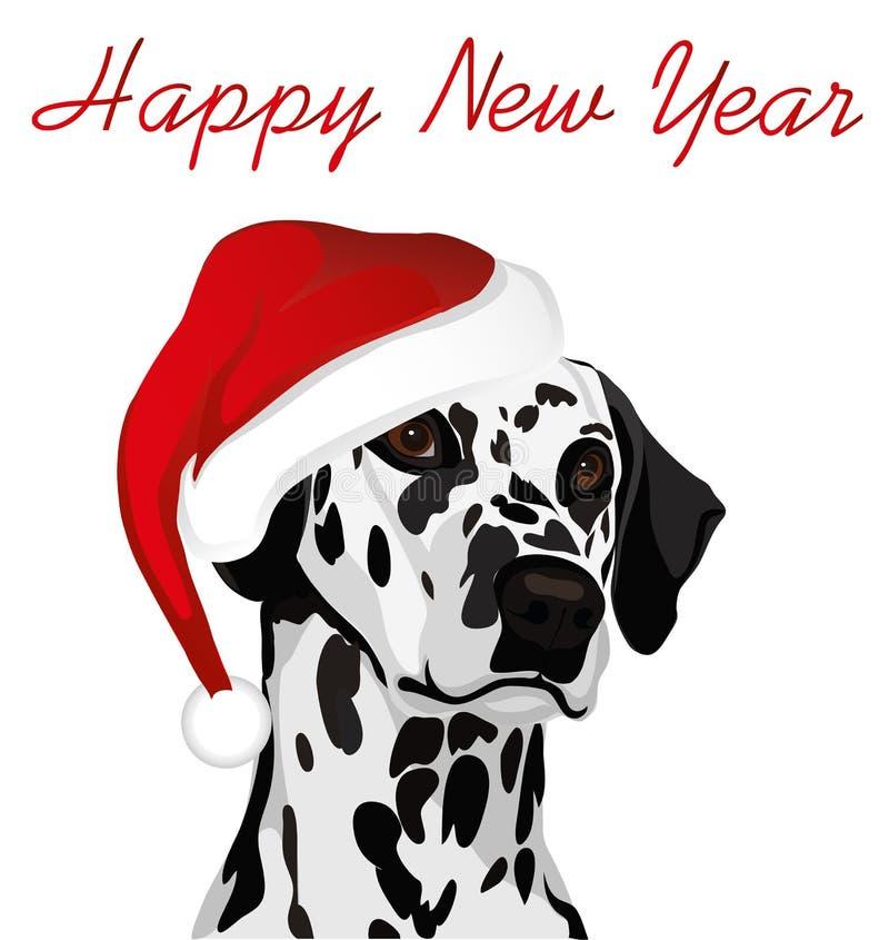 Pies w nowym roku w Święty Mikołaj kapeluszu dalmatian Symbol ilustracja wektor