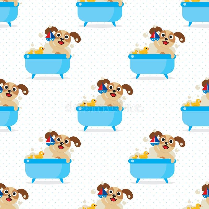 Pies w wannie bezszwowej royalty ilustracja