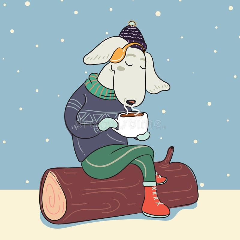 Pies w zima ciepłym pulowerze z filiżanką gorąca kawa i ilustracja wektor