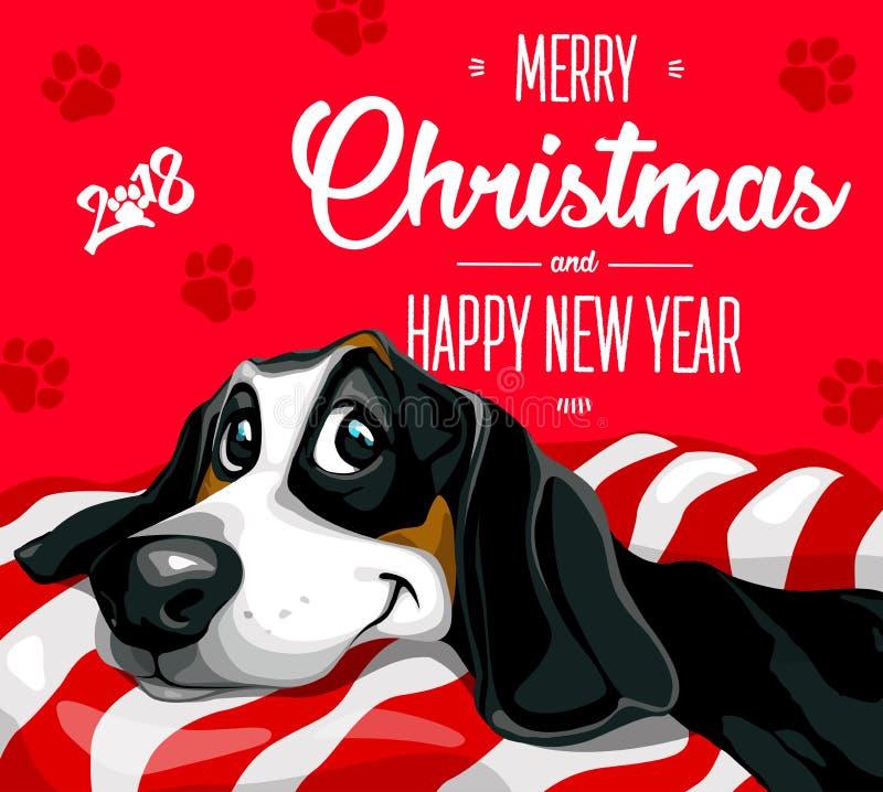 Pies Wesoło boże narodzenia 2018 i szczęśliwy nowy rok Szczęśliwy, śmieszny szczeniak, ilustracji