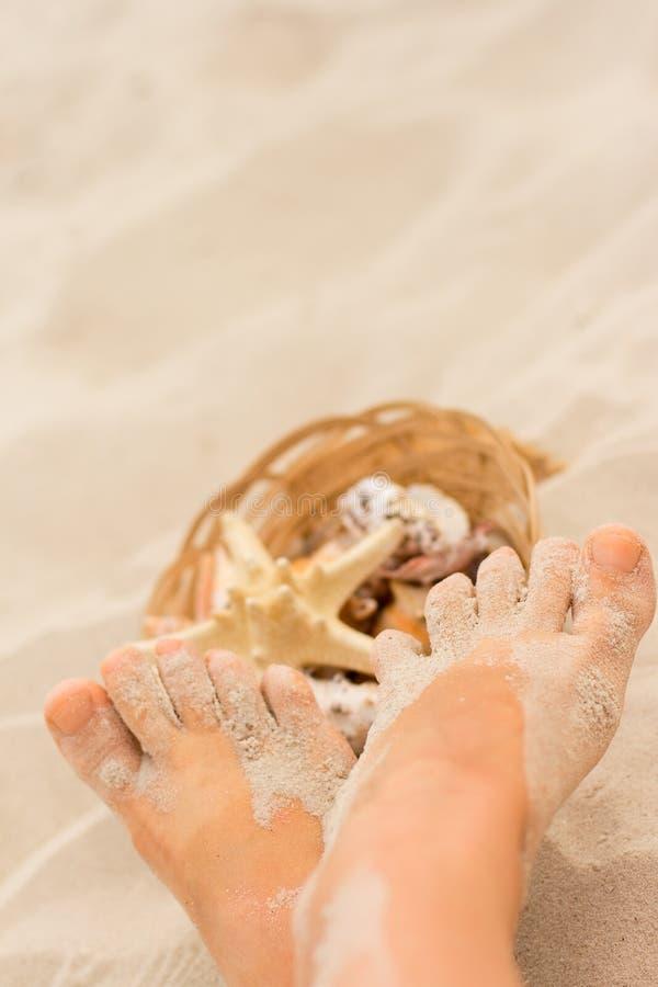 Pies y cesta de shelles foto de archivo