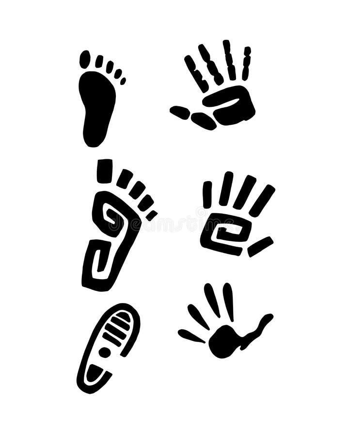 Pies y manos ilustración del vector