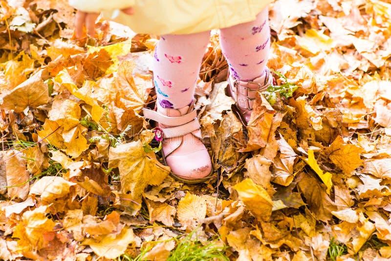 Pies y piernas del niño que se colocan en Autumn Leaves foto de archivo