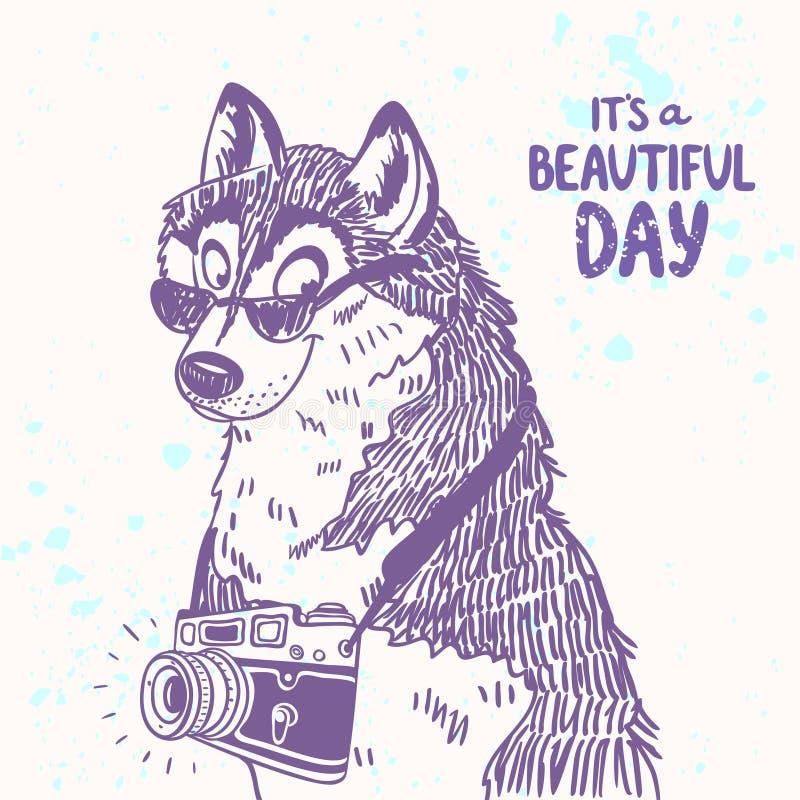 Pies z kamerą ilustracji