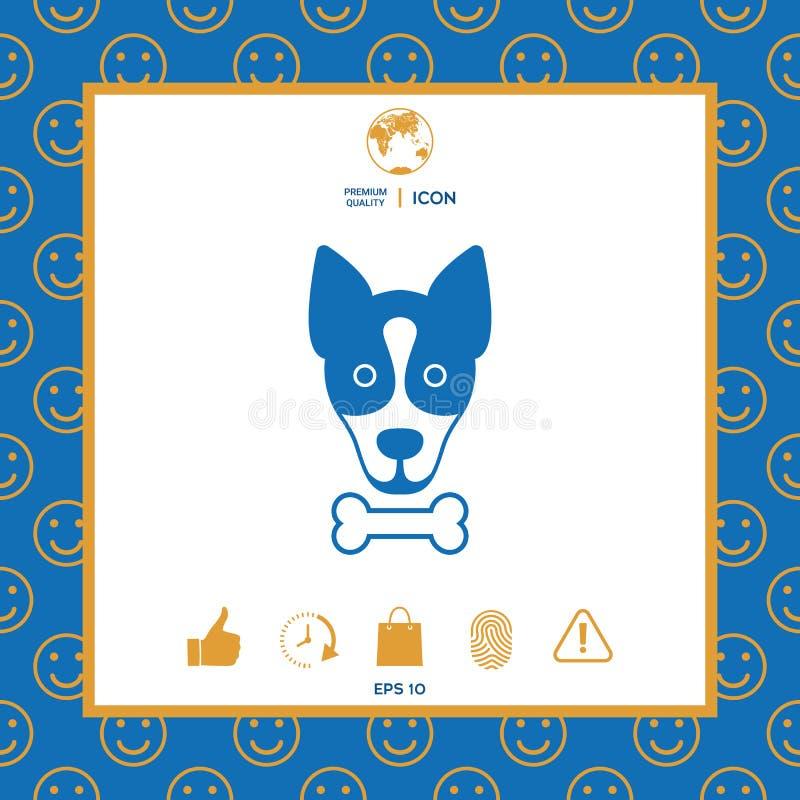 Pies z kość logem, symbol, gacenie znak, ikona Posiłki dla zwierzęcia domowego royalty ilustracja