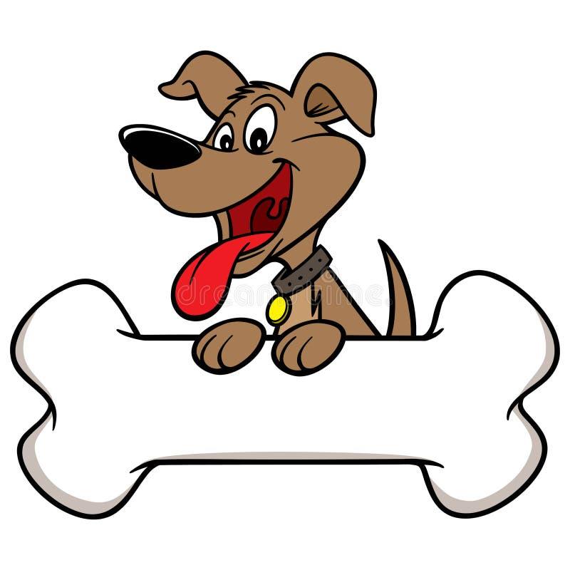 Pies z kością ilustracji