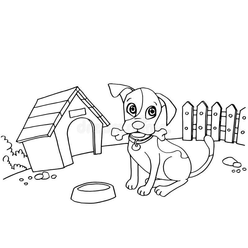 Pies z kością w usta przy domowym kreskówki kolorystyki strony wektorem royalty ilustracja