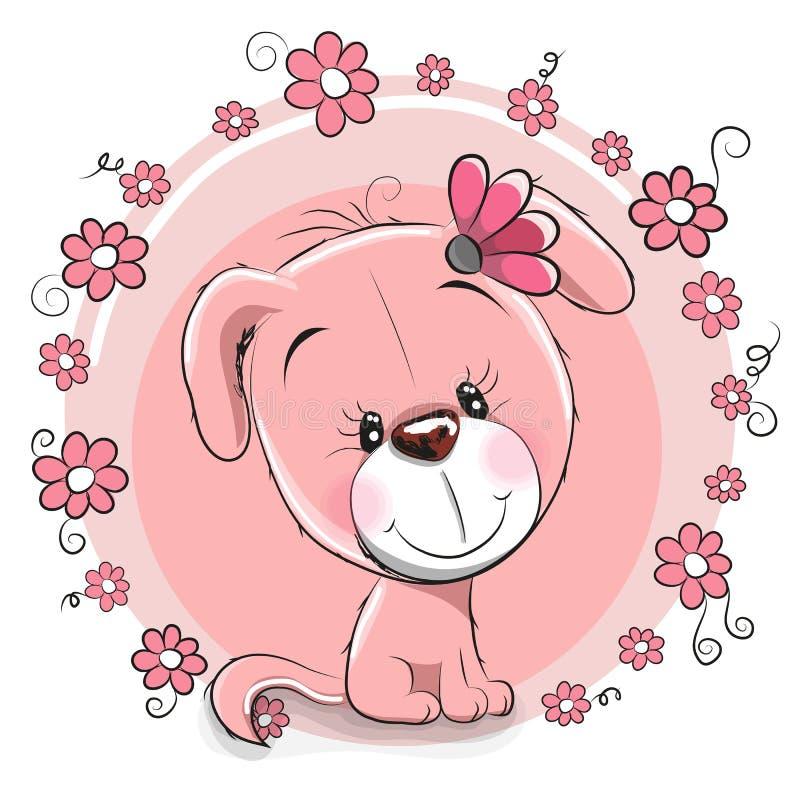 Pies z kwiatami ilustracja wektor