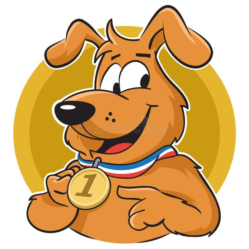 Pies z medalem ilustracja wektor