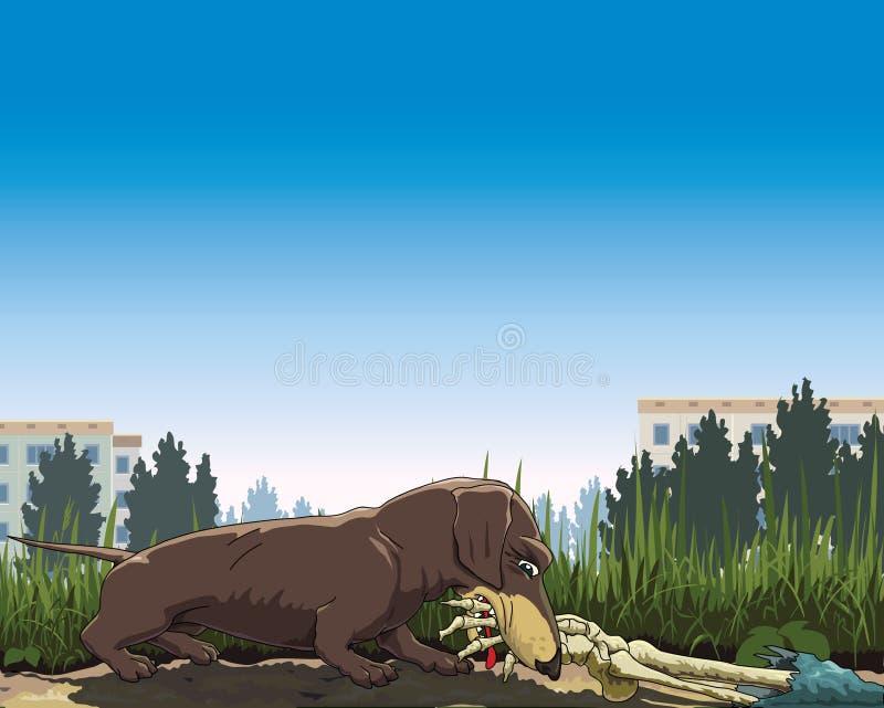 Pies zakłada kość ilustracja wektor