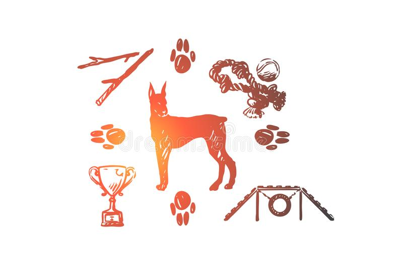 Pies, zwierzę domowe, zwierzę, akcesoria, opieki pojęcie Ręka rysujący odosobniony wektor ilustracji